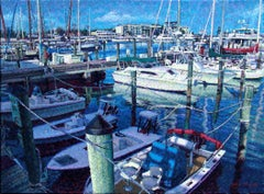 """A Bedazzling Blue Bliss""   Key West Marina Boats 18"" x 24"" oil on canvas"