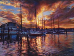 """A Delightful Dance at Dusk""  Key West Boats Oil Impressionism  In Stock"