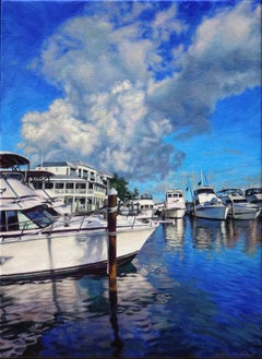 """""""Boats In A Brilliant Blue Bay""""     Boats Key West, 24 """" x 18""""  Oil"""