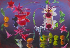 """Purple Madder""  Contemporary Flowers Fruit red purple photorealist  $15,500"