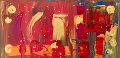 """Paint The Town""  Abstract Acrylic Painting  Red Gold"