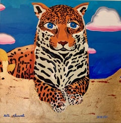"""The Jaguar""   Acrylic on Canvas w Gold Leaf , by Seth Chwast 27""x27"" $850"