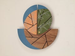 """Earth Series,  Wall sculpture, hand painting and carving on wood 14"" x 16"" x 1"""