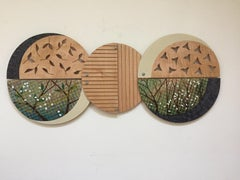 """Earth Series, 7"",  Wall sculpture, hand painting and carving on wood"