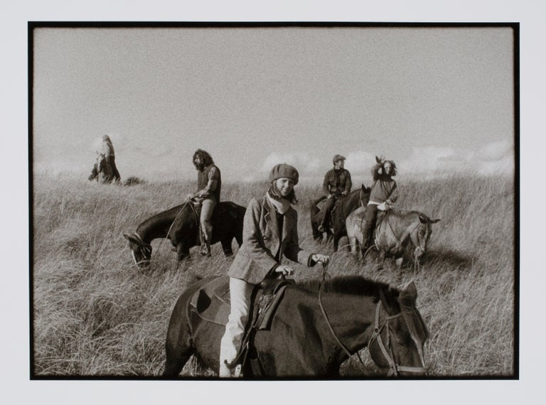 """Hideoki, Horses in Montauk, Black & White, Photography, 1970, 16"""" x 20""""  Photos of Hideoki™ are being sold for the first time in 2019. This piece is a one and only original artist silver gelatin print affixed with his signature in front of the"""