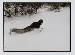Hideoki, Black & White Photography, Backyard Sledding, New Jersey, 1970