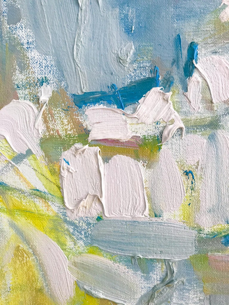 This painting, reminiscent of Abstract Expressionist art, exhibits McAlister's mastery of brushwork and thick texture to suggest movement and landscape. McAlister is inspired by landscapes with personal significance in Virginia, Wyoming, North