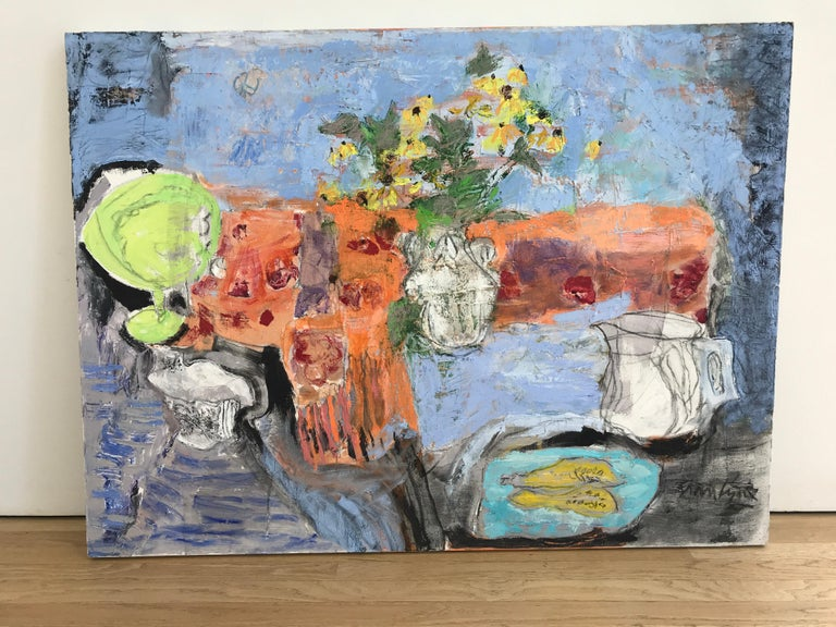 Still life with Compote - Painting by Anne Lyne