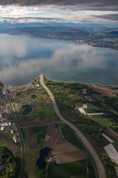 Rhone River emptying into Lake Geneva