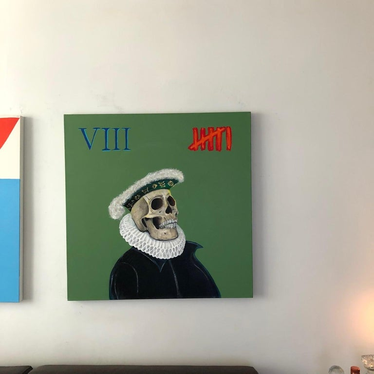 """""""VIII"""", 2020 acrylic on canvas painting by New York City contemporary painter Greg Gregor.  It is said artists paint skulls as a symbol and reminder of the temporary nature of life.    With VIII Gregor presents timely commentary."""