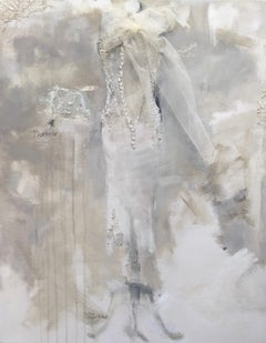 Undone - fashion art, impressionistic, contemporary painting on canvas, couture