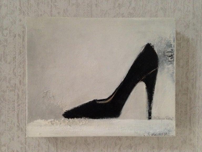 Shoe Painting #3 - Gray Still-Life Painting by Andrea Stajan-Ferkul