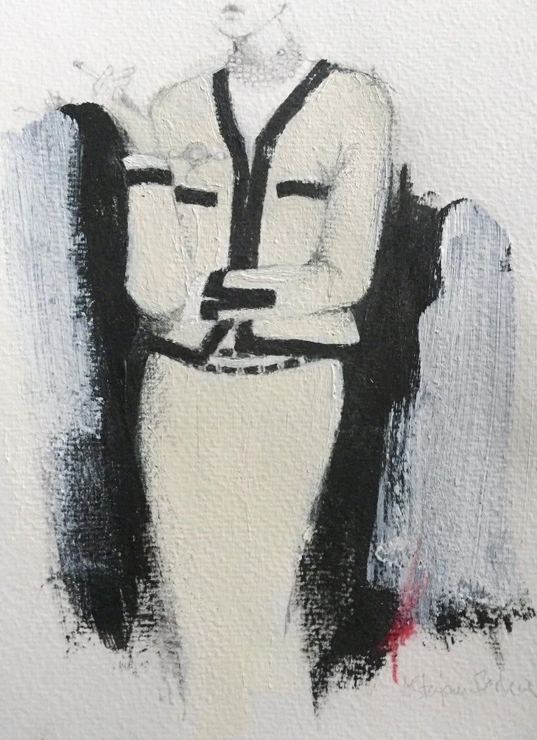 Chanel style suit, illustration on paper.   In her series of small works, Stajan-Ferkul's focus is on detail and strong composition. Having worked in the fashion advertising industry, her background lies in traditional illustration and graphic