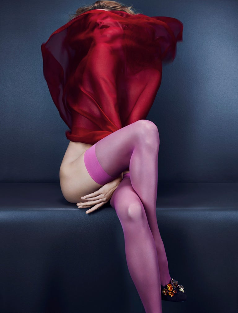 Camille Red & Pink – Emma Summerton, Red, Pink, Stockings, Nude, Woman, Blonde - Photograph by Emma Summerton