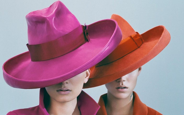 Lily & Freja in Dior – Emma Summerton, Dior, Fashion, Pink, Orange, Woman, Hat - Contemporary Photograph by Emma Summerton