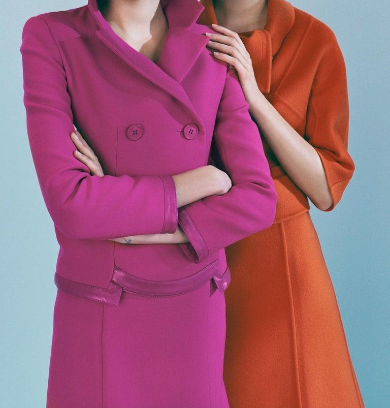Lily & Freja in Dior – Emma Summerton, Dior, Fashion, Pink, Orange, Woman, Hat - Gray Figurative Photograph by Emma Summerton