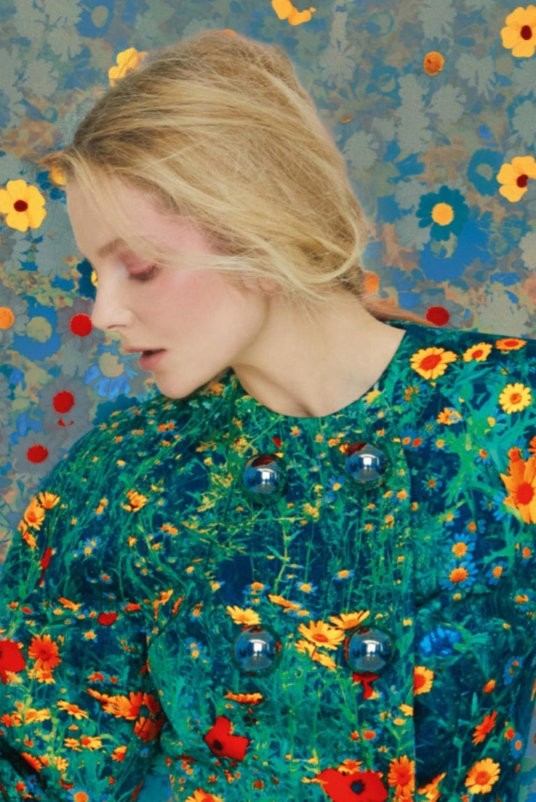 Eniko in Flowers, Archive – Erik Madigan Heck, Fashion, Nude, Art - Blue Color Photograph by Erik Madigan Heck