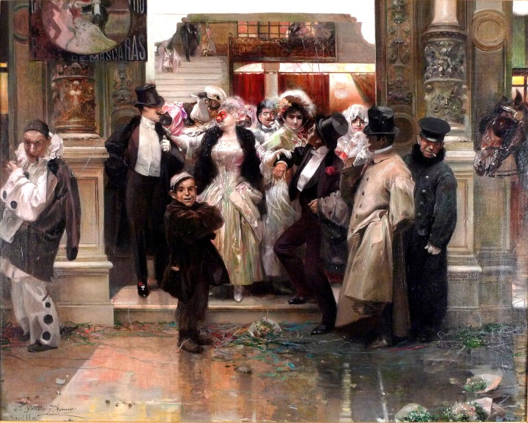 JOSÉ GARCÍA Y RAMOS Spanish, ( 1852 - 1912 ) THE END OF THE BALL signed J. García y Ramos and inscribed Sevilla (lower left) oil on canvas 26 X 31-1/2 inches (66 X 80 cm.) framed: 45-1/2 X 39-1/4 (116 X 100 cm.)  PROVENANCE Sale: Sotheby´s New York,