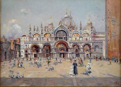 """Saint Marks Square"", 19th Century oil on canvas of Venice by Antonio Reyna"