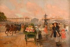 """Place de la Concorde"", 19th Century oil on panel by Joaquín Pallarés Allustante"