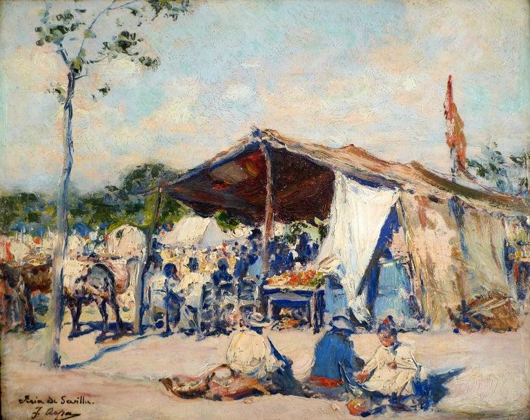 """Feria de Sevilla, 19th Century oil on panel by Spanish artist José Arpa Perea - Painting by José Arpa Perea"