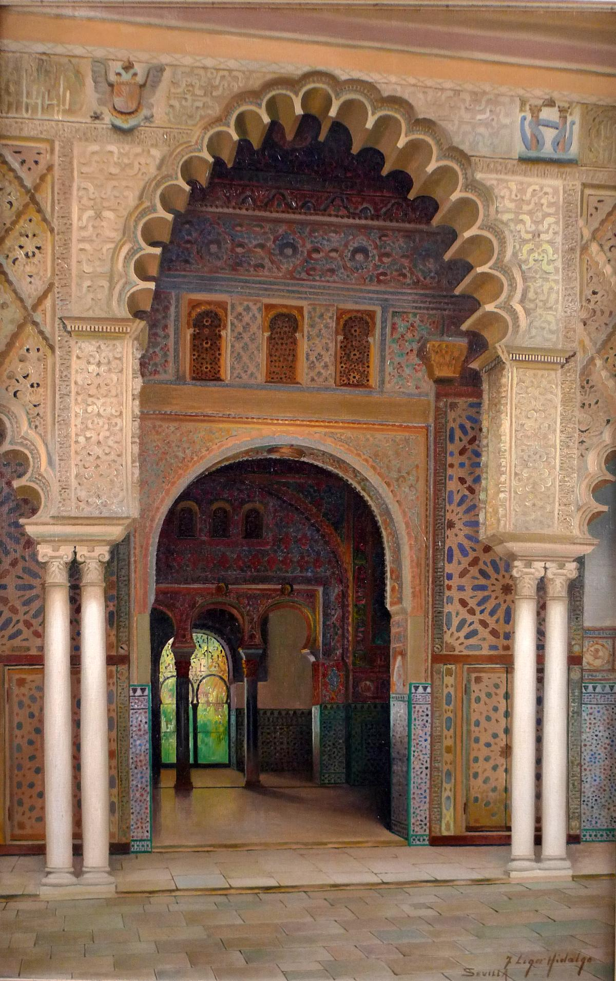 """Reales Alcázares de Sevilla"" Large 20th Century oil on canvas by Liger Hidalgo"