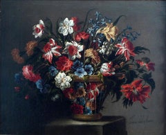 """Cesta de flores"", 17th Century oil on canvas, still flowers by Juan de Arellano"