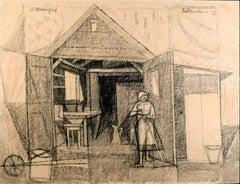 """Casa de lechera"", 20th Century mixed media on cardboard by M. Hernández Mompó"