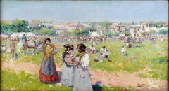 """At the Annual Fair"", an early 20th Century oil on canvas by Alberto Plá Rubio"
