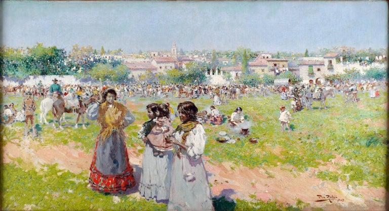 "Alberto Plá y Rubio Landscape Painting - ""At the Annual Fair"", an early 20th Century oil on canvas by Alberto Plá Rubio"