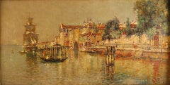 """Venetian scene"", 19th Century oil on canvas laid on cardboard by Antonio Reyna"