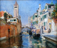 """Venice Canal"",  19th Century Oil on Canvas by Spanish Painter Ulpiano Checa"