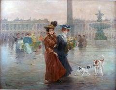 """""""La Place de la Concorde, Paris""""  19th Century oil on canvas by Félix Alarcón"""