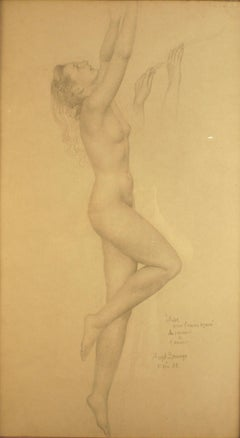 """Janine"", 20th Century pencil drawing on paper by Mexican artist Ángel Zárraga"