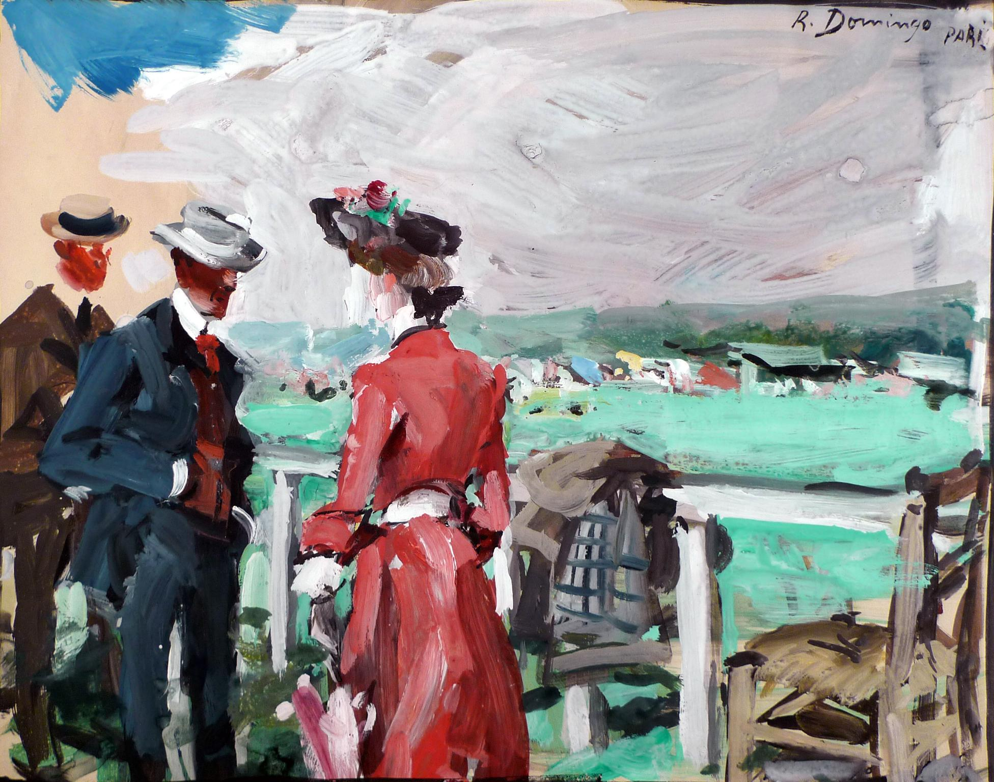 """At The Longchamp Races"", Gouache on paper by Spanish Artist Roberto Domingo"