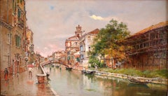 """Venetian Canal"" Late 19th Century Oil on Canvas by Spanish Artist Antonio Reyna"