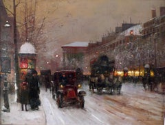 """Boulevard de la Madeleine on a Snowy Day"", Oil on Canvas by Édouard Cortès"