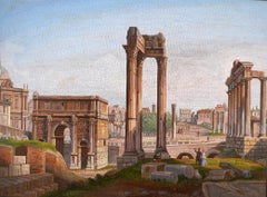 """ Very Fine Italian Micromosaic Plaque"", depicting The Roman Forum, Circa 1850"