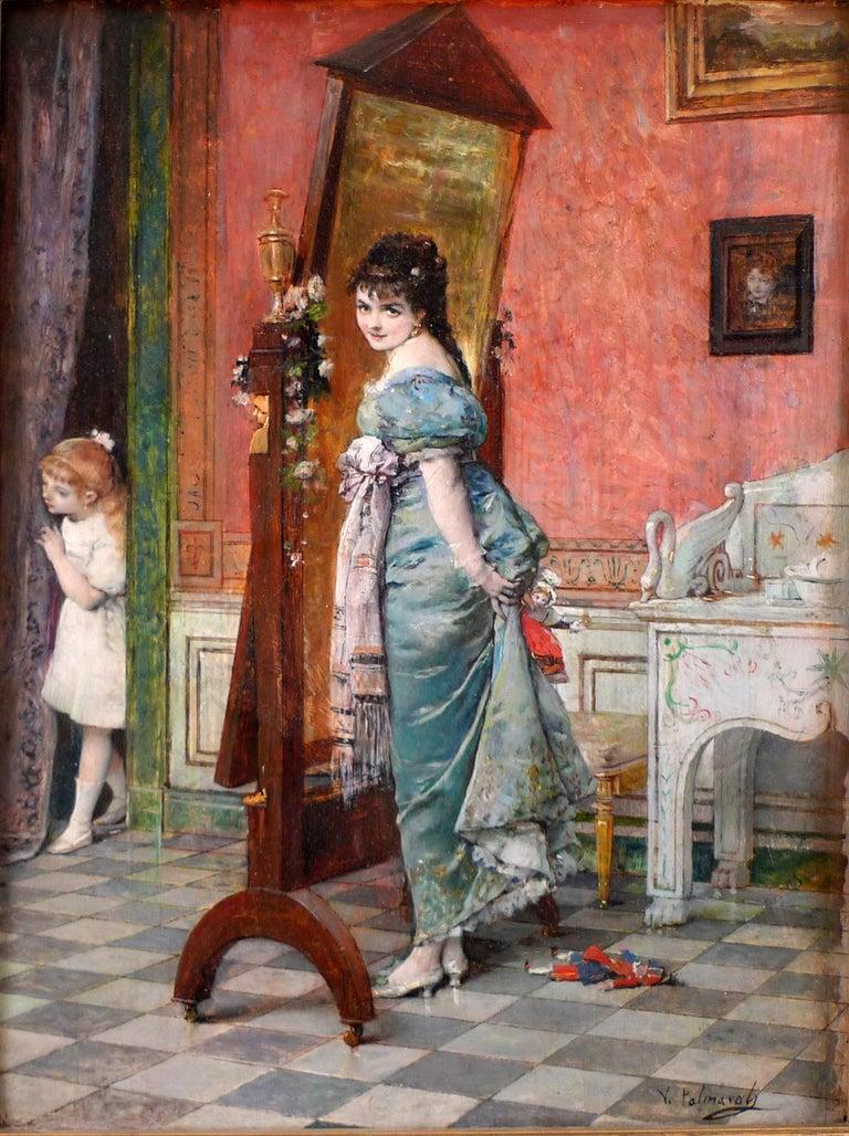 "Vicente Palmaroli y González Figurative Painting - ""Playing hide and seek"", 19th Century Oil on Panel by Vicente Palmaroli, Spanish"