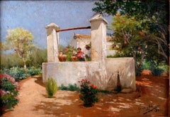"""Flirting at the Well"", Early 20th Century Oil on Panel by M. García y Rodríguez"