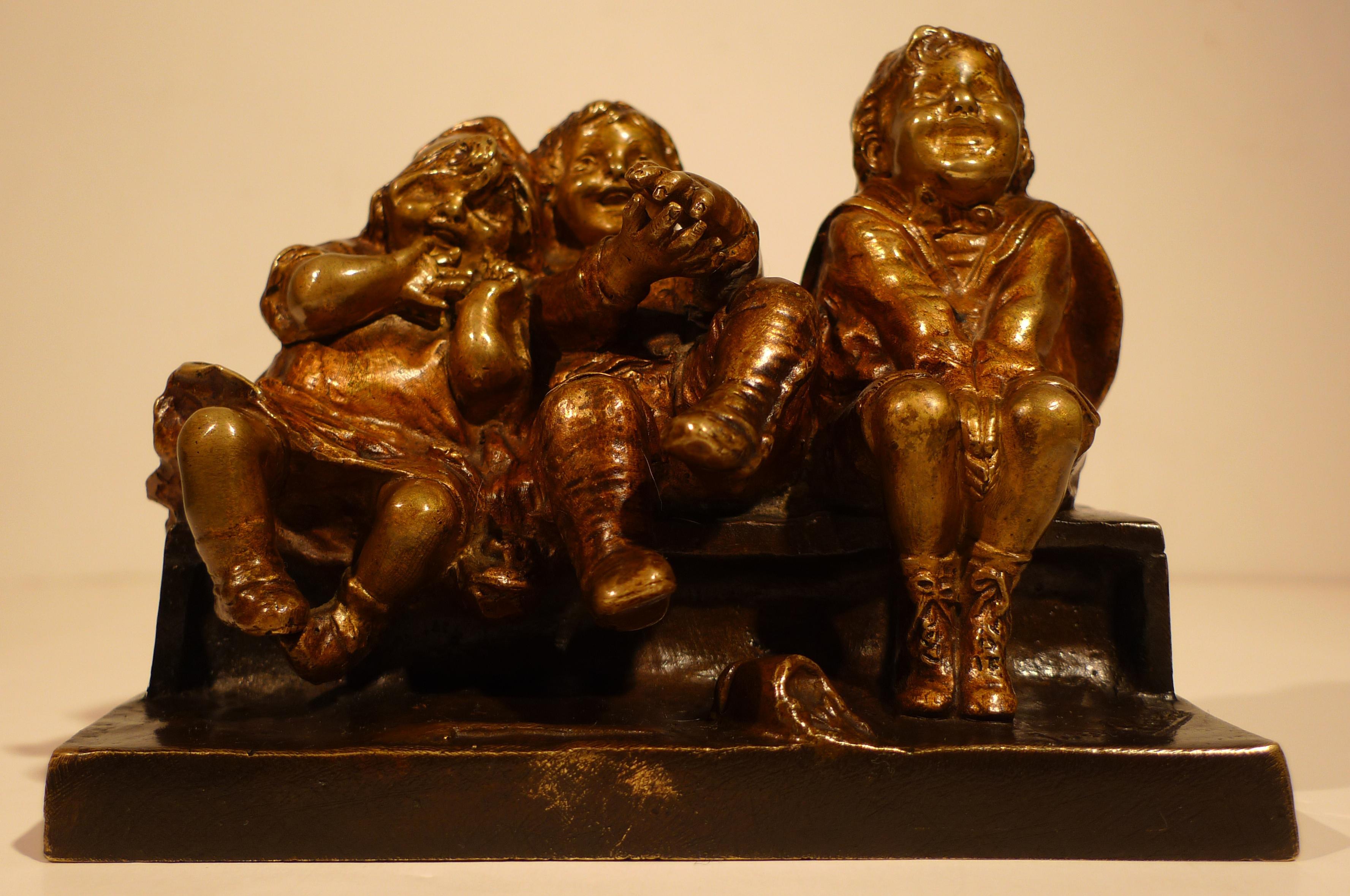 """""""Art Nouveau Sculptural Bronze  Group of Children"""", 20th Century  by Juan Clará"""