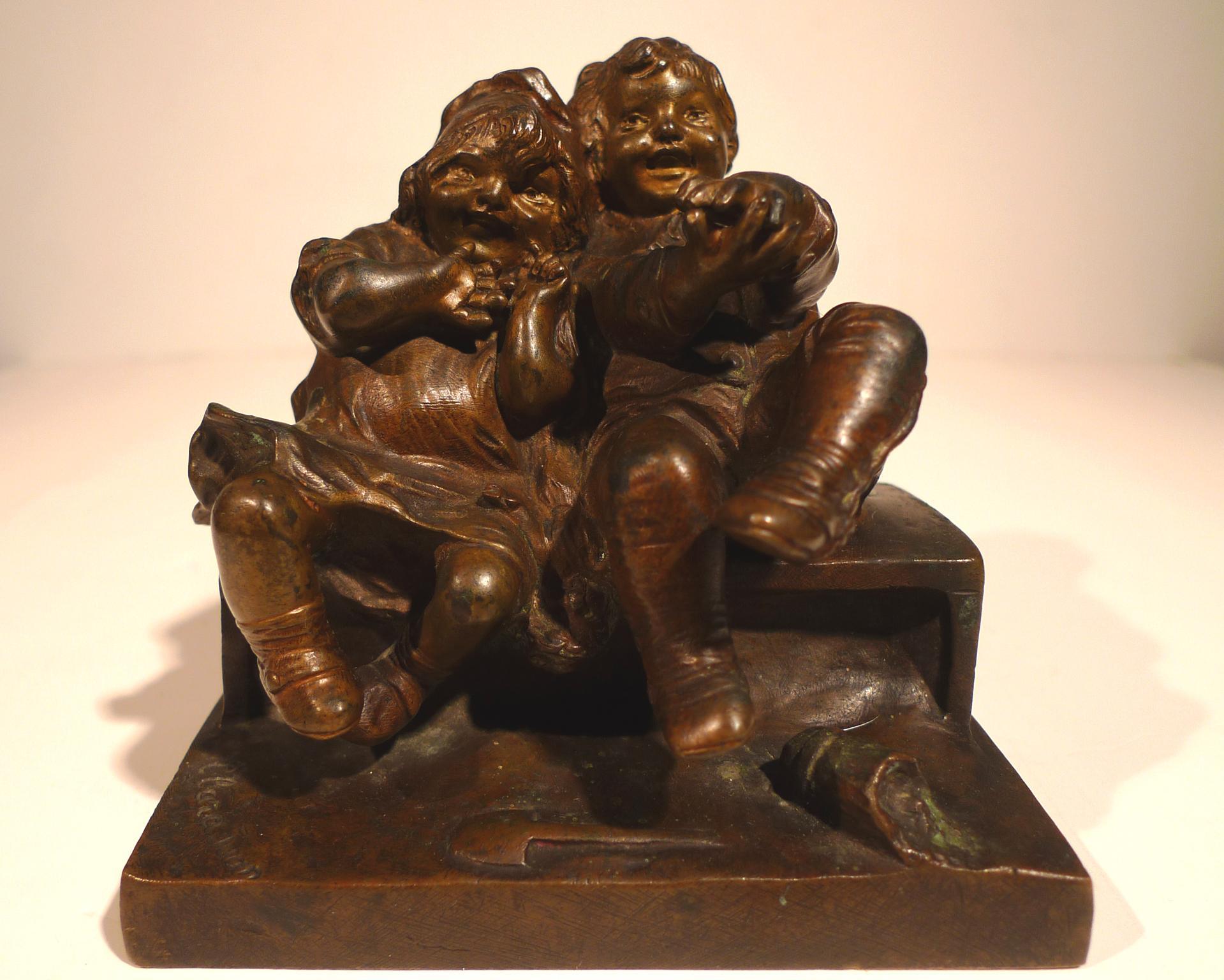 """""""Art Nouveau Bronze Sculptural of a Boy and Girl"""", 20th Century by Juan Clará"""