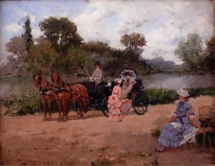 """Carriage Ride by The River"", 19th Century Oil on Canvas by Francisco Miralles"