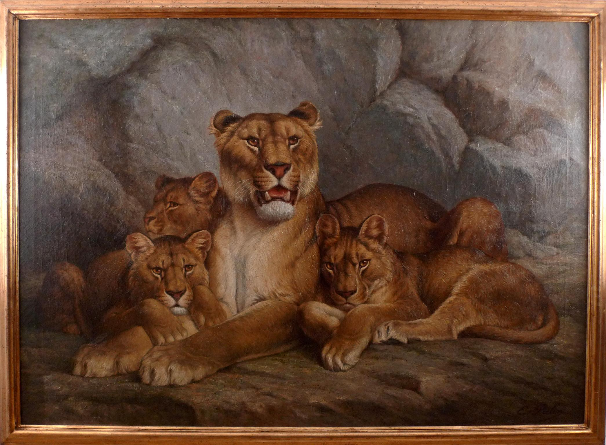 """""""Lioness and Cubs"""", 19th Century Oil on Canvas by French Artist, Eugène Relin"""