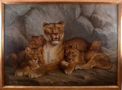 """Lioness and Cubs"", 19th Century Oil on Canvas by French Artist, Eugène Relin"