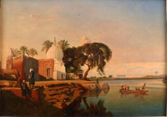"""On the Nile"", 19th Century Oil on Canvas by French Artist, Prosper Marilhat"