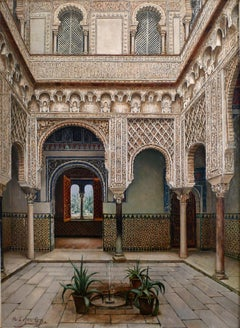 """Patio del Alcázar de Sevilla"", 19th Century Oil on Canvas by M. López Cantero"