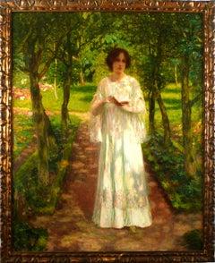"""Reverie"" 19th Century Oil on Canvas by Spanish Artist Joan Brull y Vinyoles"