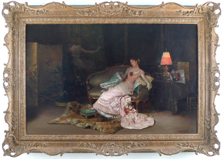 """Rogelio de Egusquiza y Barrena Interior Painting - """"A Reverie During The Ball"""", 19th Century Oil on Canvas by Rogelio Egusquiza"""