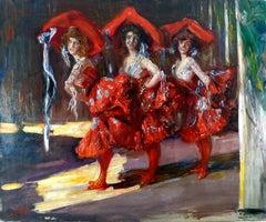 """The Florence Sisters"", 19th Century Oil on Canvas, Spanish Artist José Villegas"